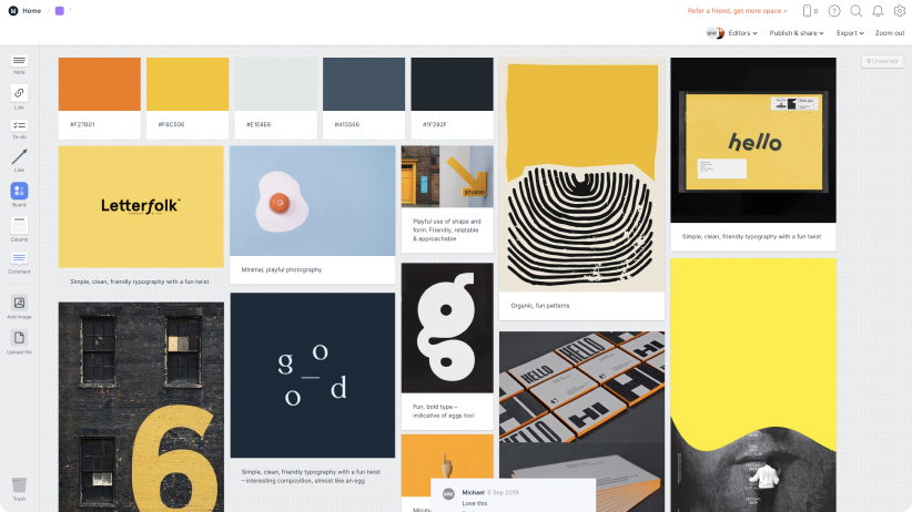 Screenshot of a moodboard made in Milanote full of orange, yellow, and navy images.