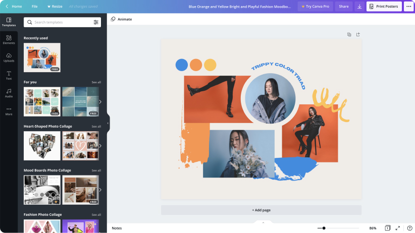 Screenshot of a moodboard in Canva made up of four orange and blue images and illustrations