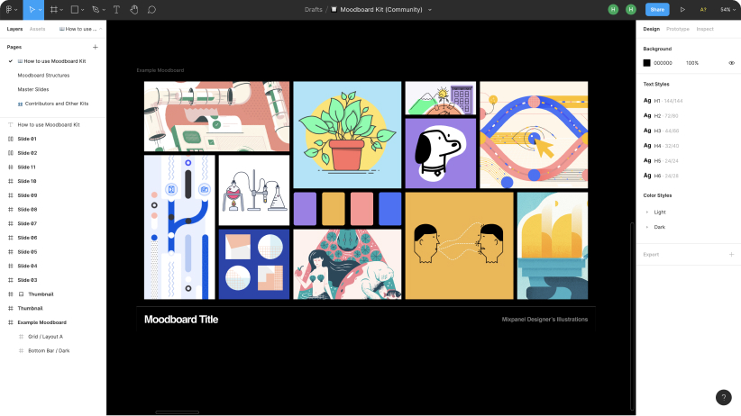 Screenshot of a moodboard in Figma made up of 11 tiled inspiration illustrations.