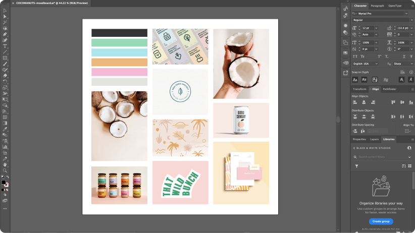 Screenshot of a moodboard in Adobe Illustrator featuring 9 pastel images.