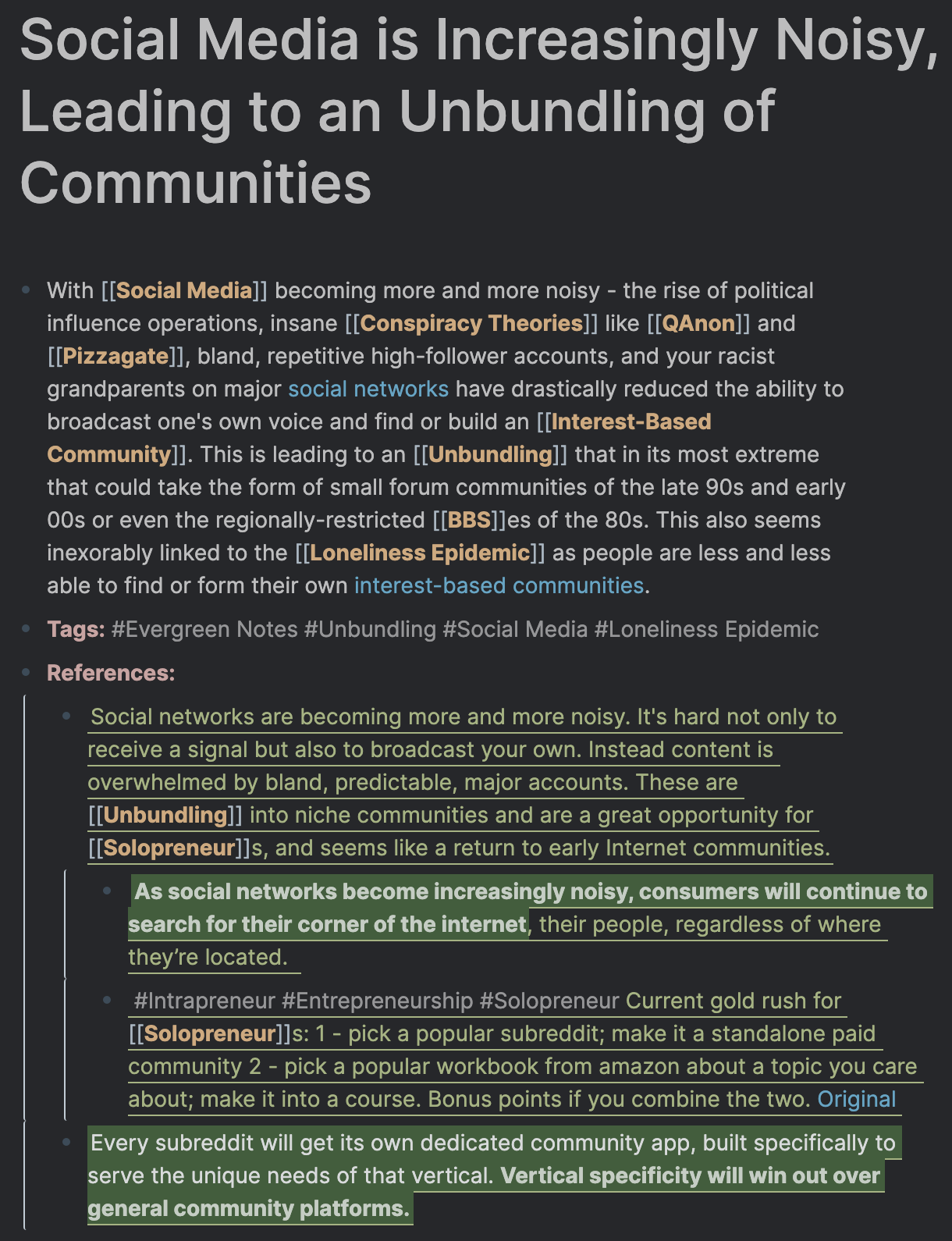 An evergreen note about the unbundling of communities