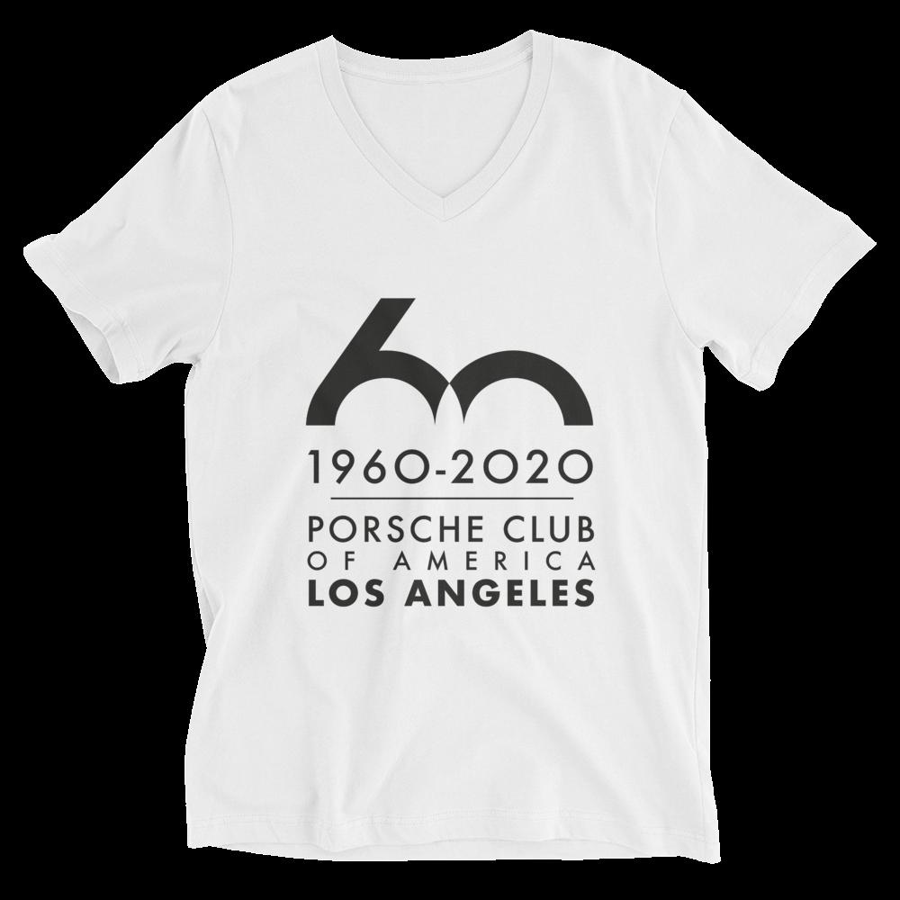 Porsche Club LA 60th Anniv. Limited Edition Unisex Short Sleeve V-Neck T-Shirt