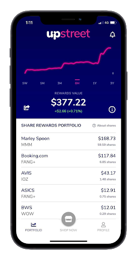 Home page displaying the share rewards portfolio on the Upstreet App