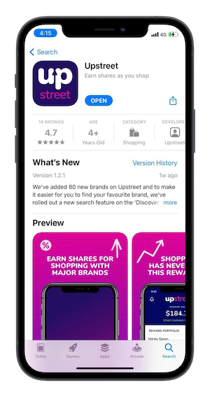 Upstreet's landing page on the Apple App Store
