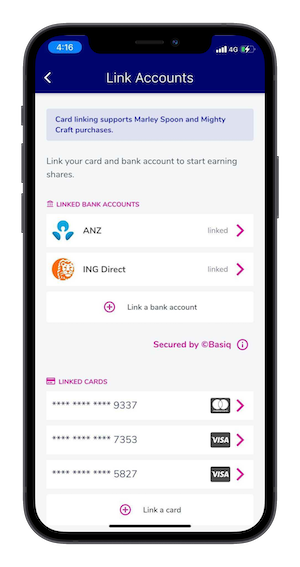 Link Accounts page displaying the bank and card linking functionality on the Upstreet App