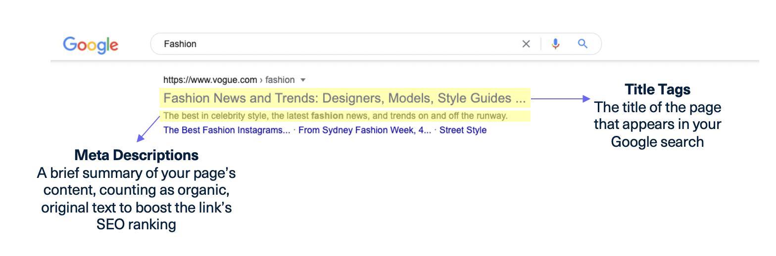 meta descriptions title tags