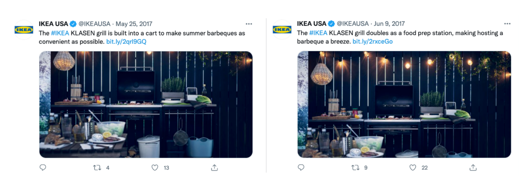A side-by-side comparison of two similar Ikea USA posts with different captions.