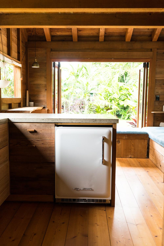 Kitchen with small fridge