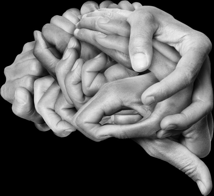 Hands bound to form a brain