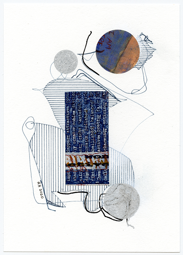 """7"""" x 5"""" – pen and collage on watercolor paper, 2018-2020."""