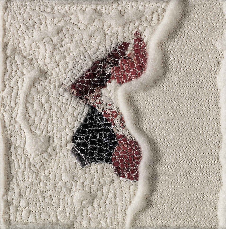 """Discovery I – 6"""" x 6"""" mounted on board; paper, thread, and unprocessed wool on industrial felt; 2011, available"""