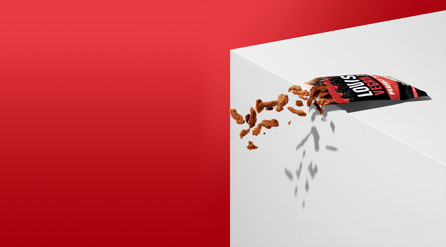Perfect Pepperoni Jerky Floating on Red Background