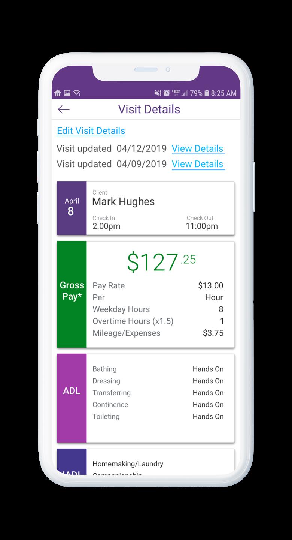 AssuriCare Mobile App - Caregiver edit visit details