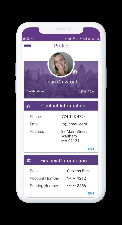 AssuriCare Mobile App - Caregiver Profile