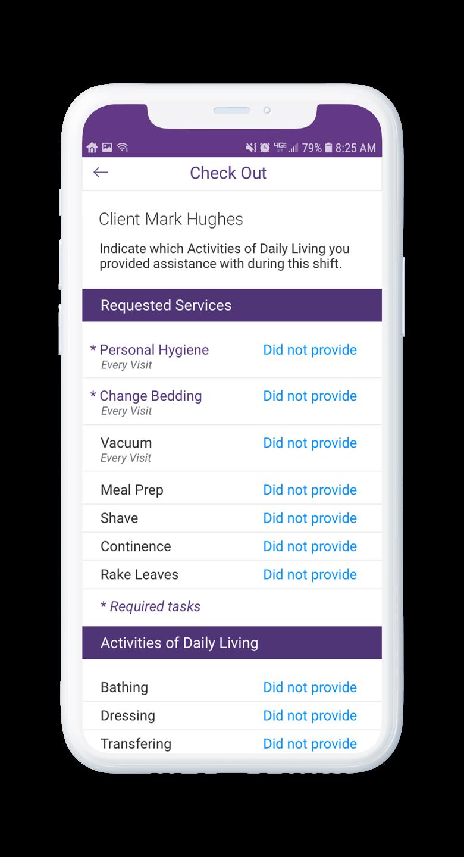 AssuriCare Mobile App - Caregiver Check Out