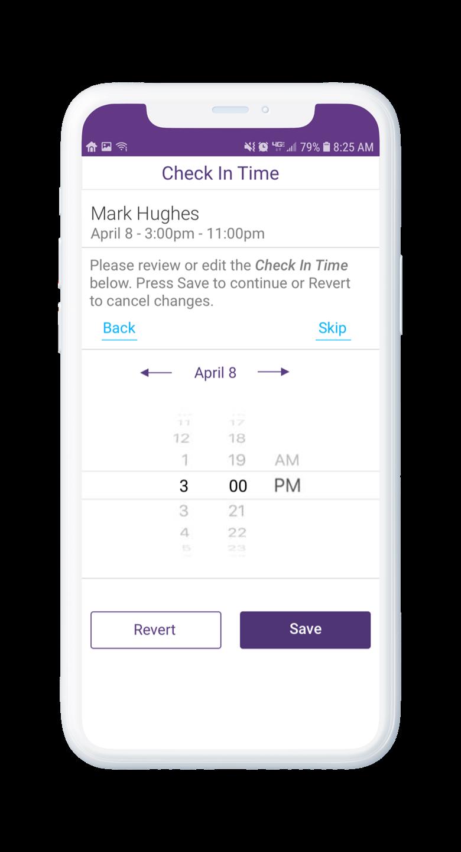 AssuriCare Mobile App - Caregiver check in time