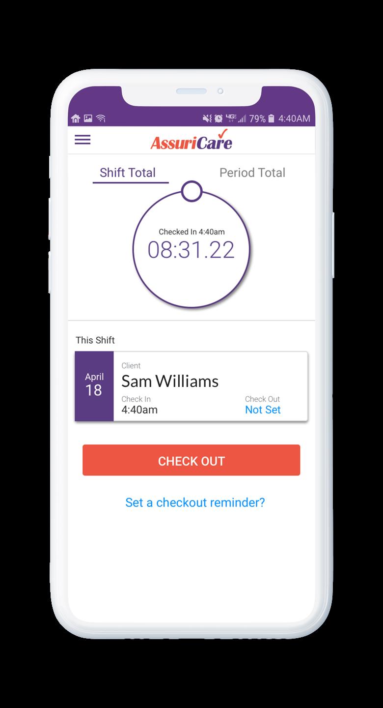 AssuriCare Mobile App - Caregiver check-in