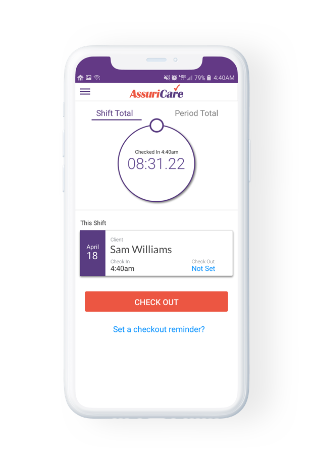 AssuriCare's mobile app provides powerful scheduling and electronic visit verification