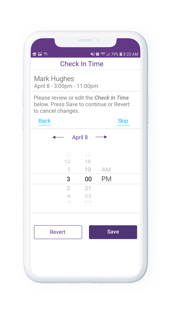 AssuriCare Mobile App - Caregiver check in time