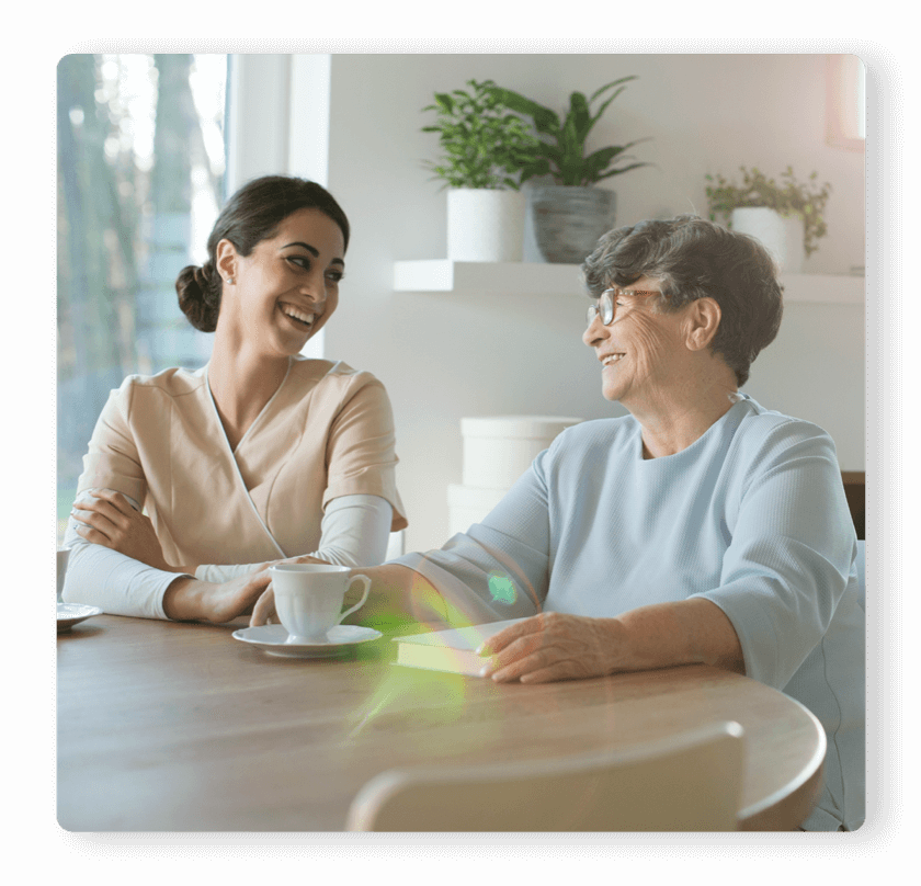 AssuriCare for Families | caregiver and elderly woman