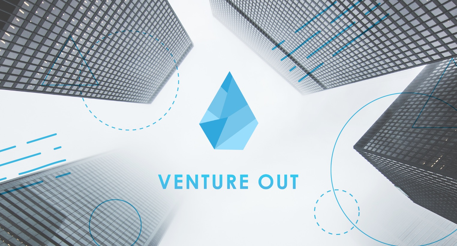 Tall buildings with the VentureOut logo in the centre