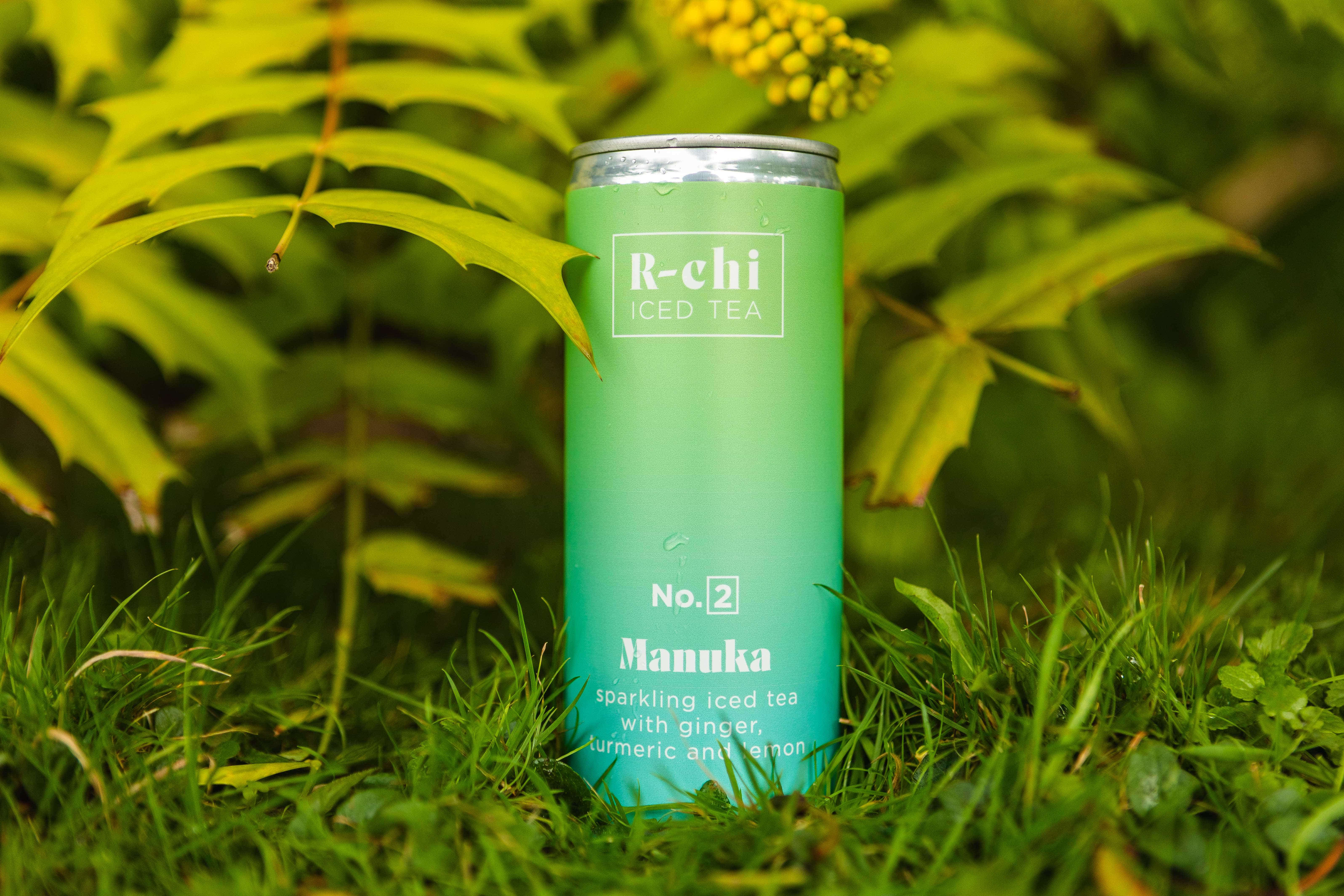 R-chi Iced tea drink Earl Grey flavour amongst green ferns. Brewed in Cornwall by Archie Boscawen.