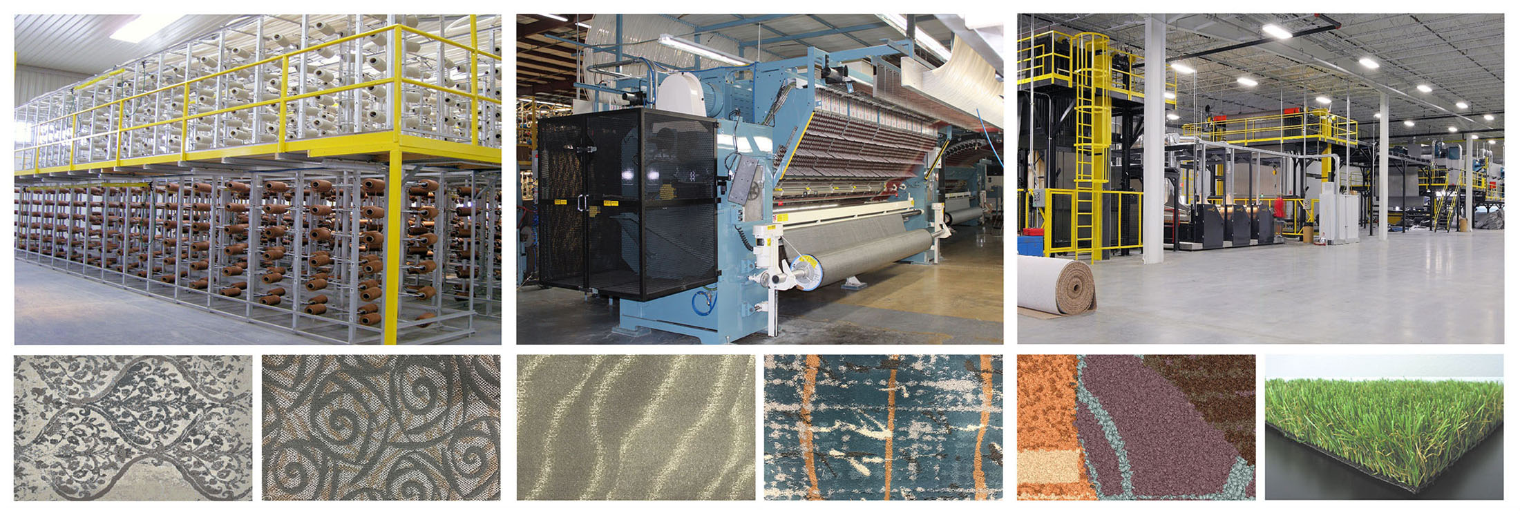 Examples of tufting machines and carpet it produces