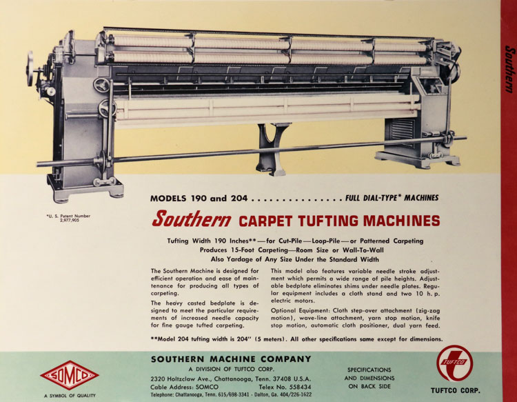 carpet tufting machinery by Tuftco