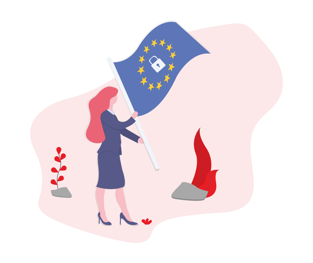 Woman waving flag with GDPR symbol