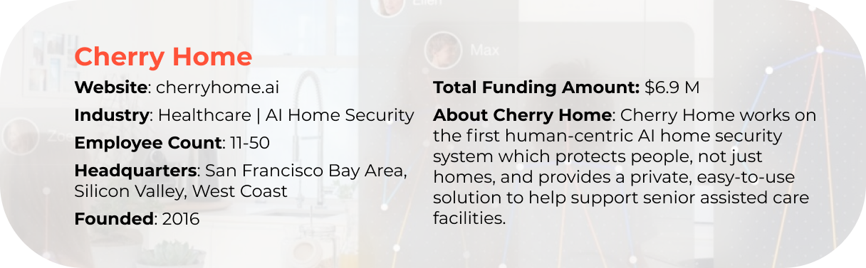 Cherry Home case introduction. Website: cherryhome.ai. Industry: Healthcare and Al Home Security. Employee Count: 11-50. Headquarters: San Francisco Bay Area, Silicon Valley, West Coast. Founded: 2016. Total Funding Amount: $6.9M. About Cherry Home: Cherry Home works on the first human-centric AI home security system which protects people, not just homes, and provides a private, easy-to-use solution to help support senior assisted care facilities.