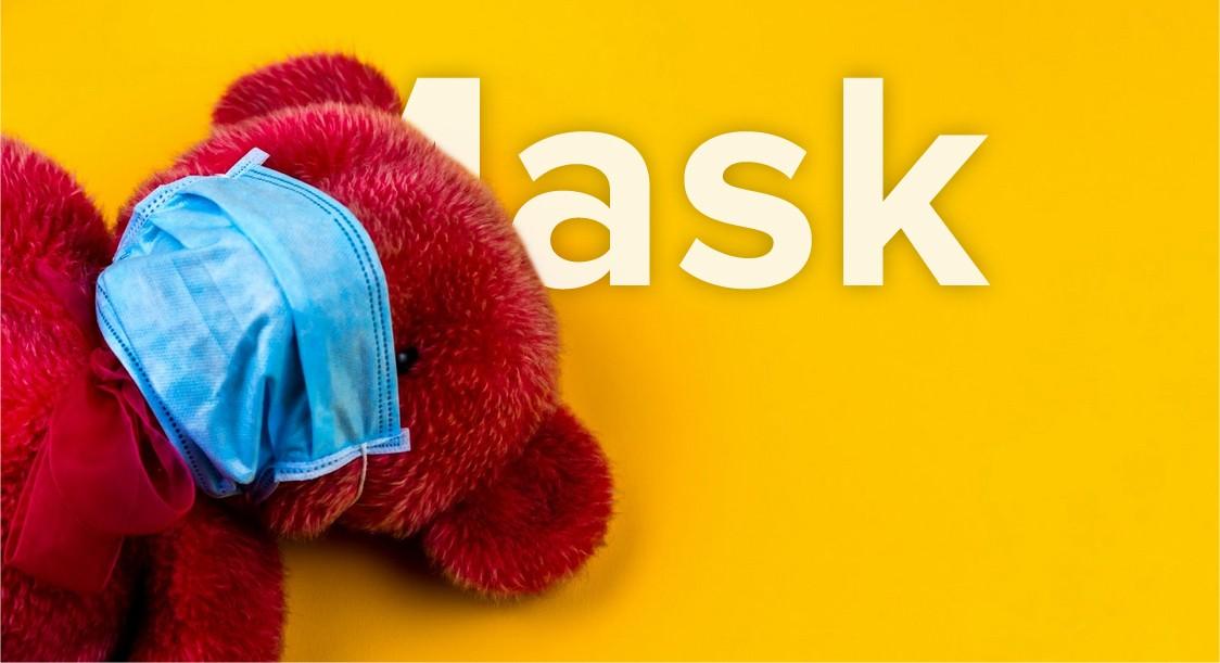 Teddy bear wearing mask