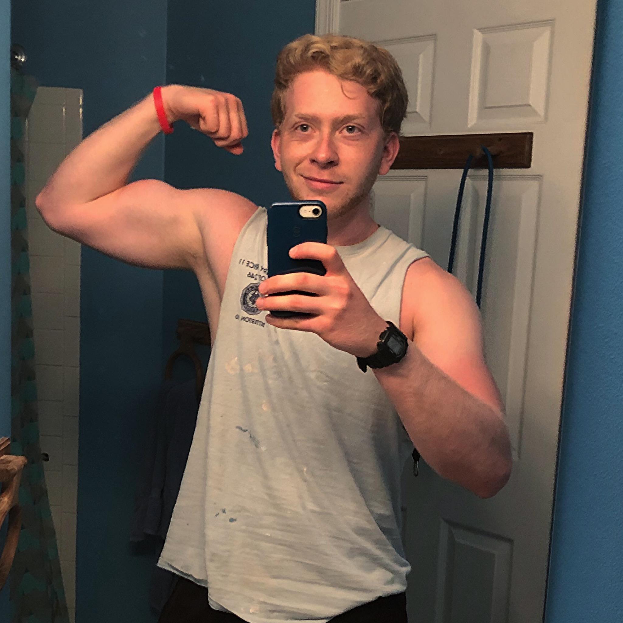 Myself flexing my biceps