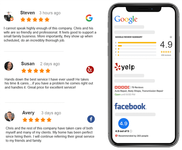 Reviews from Google, Yelp, and Facebook