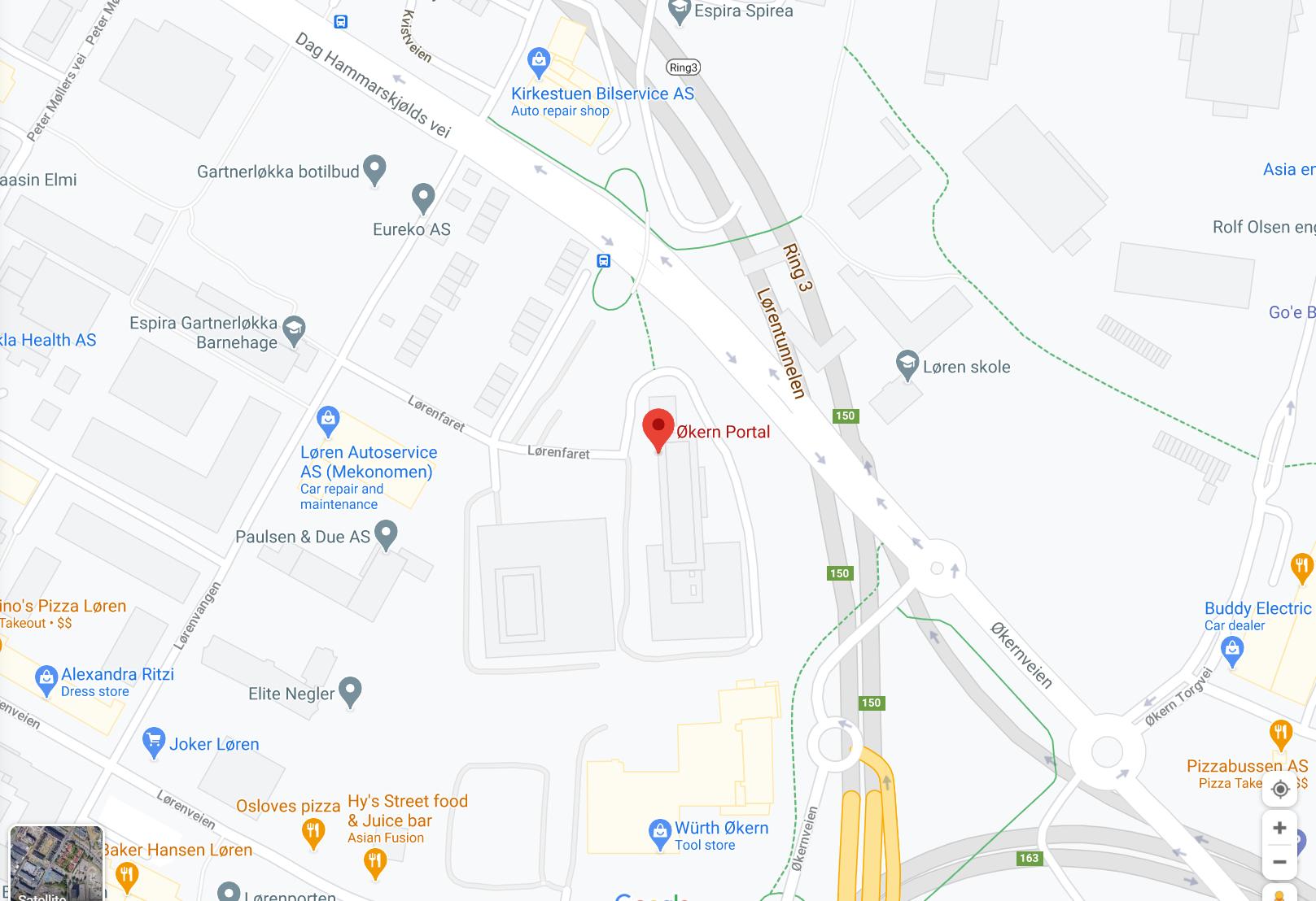 Google map to Studio Jobbsprek Okern Portal.
