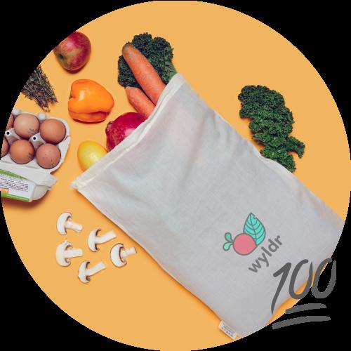wyldr bag with organic food