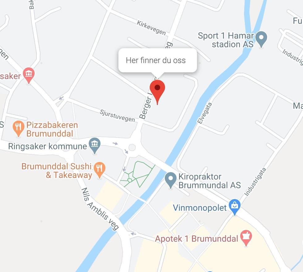 Kart hvor du finner elektrikeren Brummundal Elektro AS