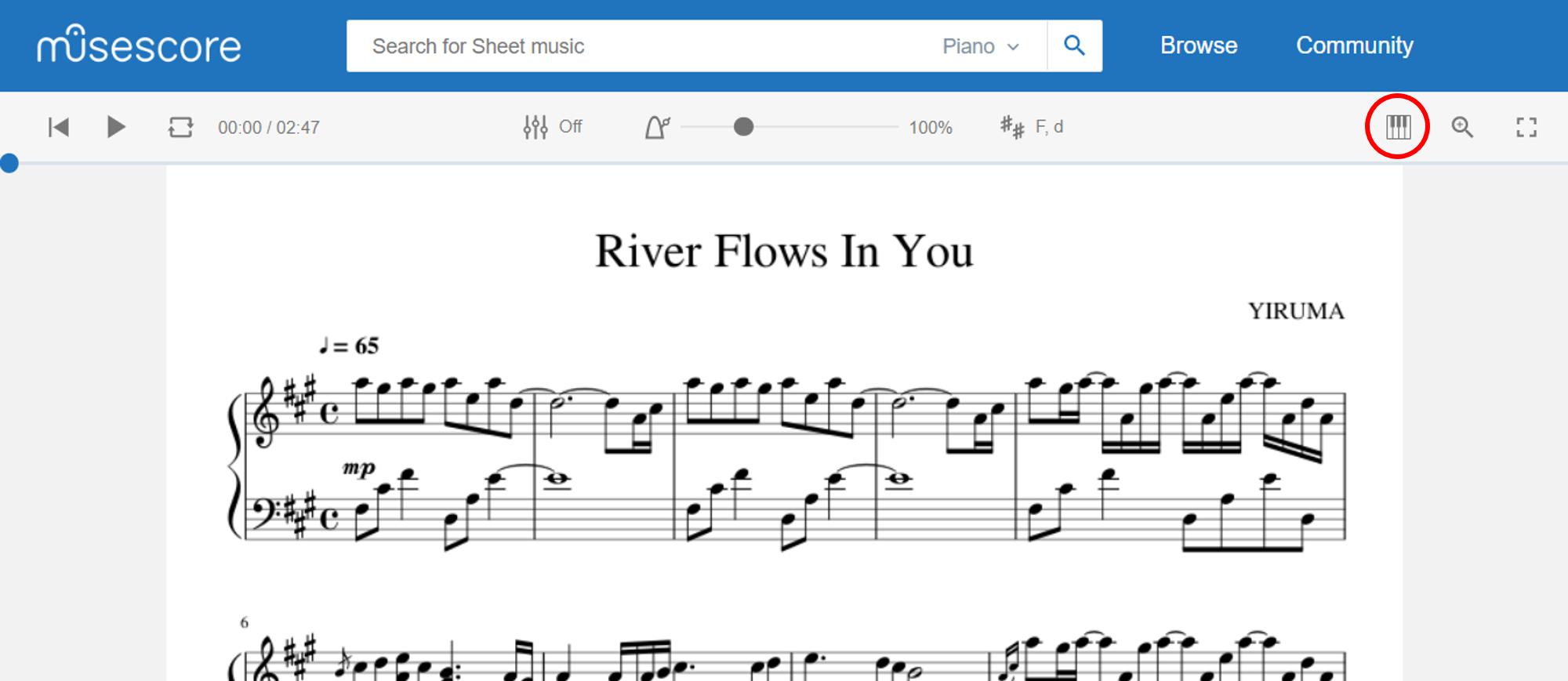 Capture d'écran site musescore partition river flows in you