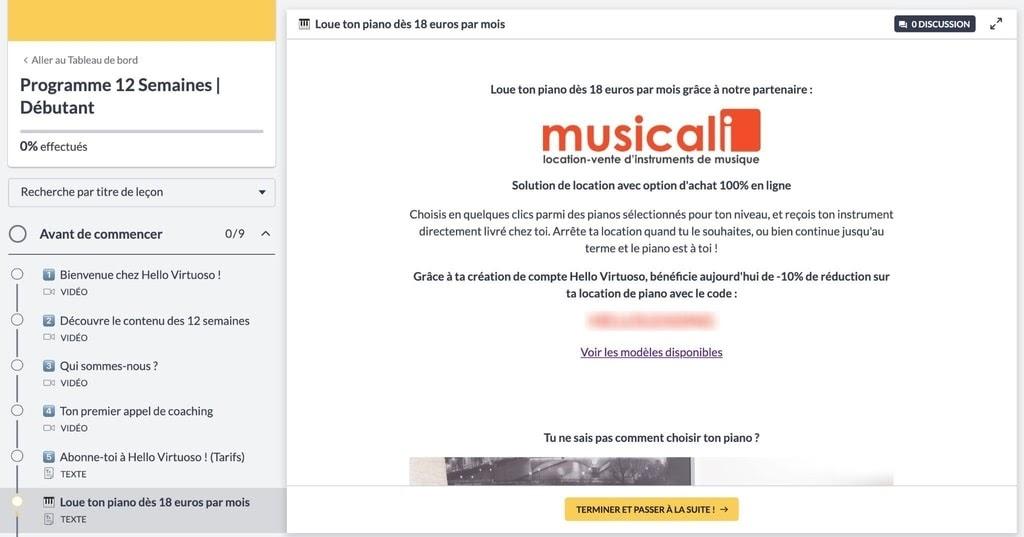 Accès code de réduction chez Musicali sur l'essai gratuit du programme 12 semaines débutant Hello Virtuoso