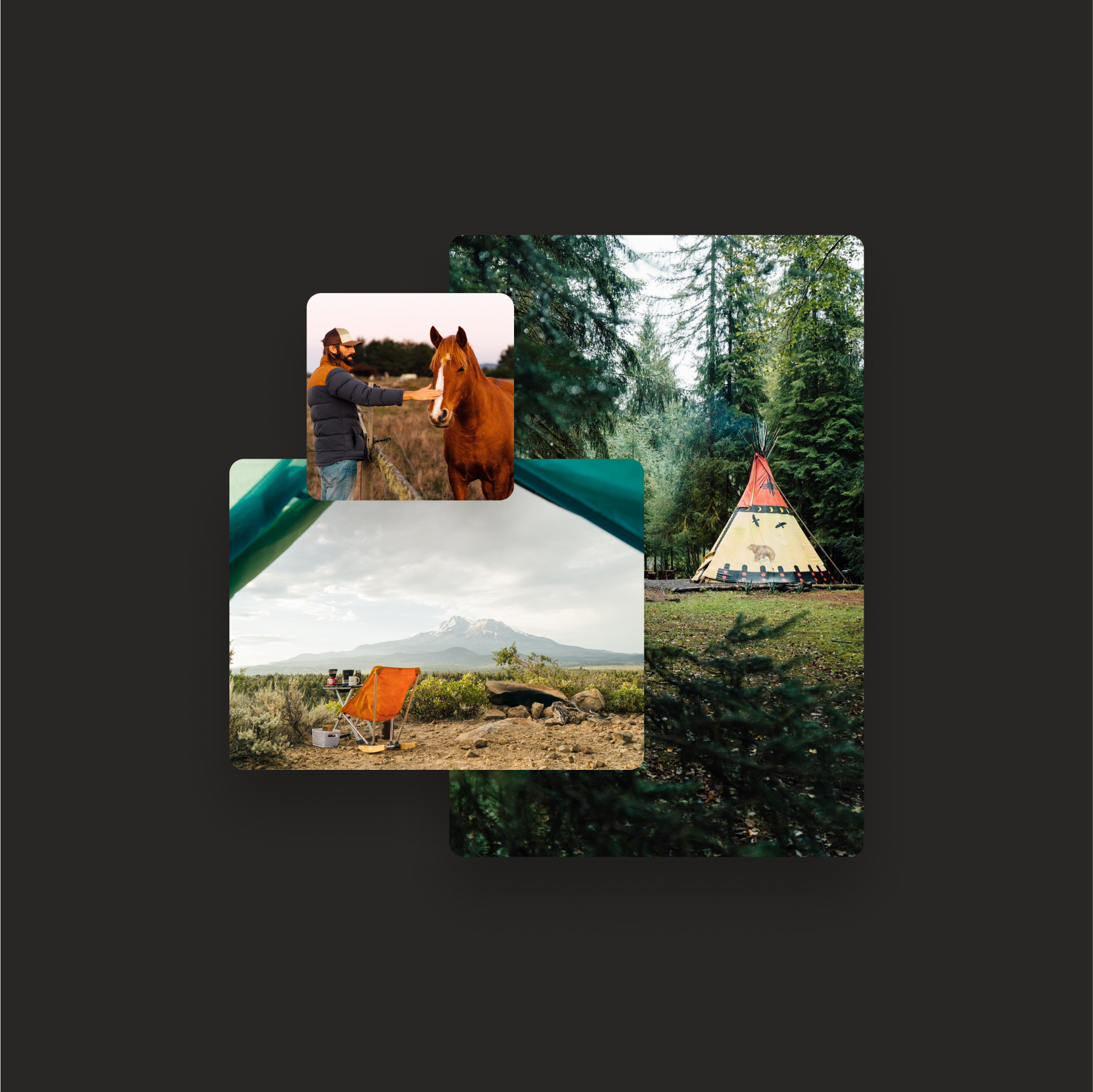 Mockup of three different Hipcamp camping images, one of a tipi, one of a man petting a horse, and one of a mountain view out of a tent flap