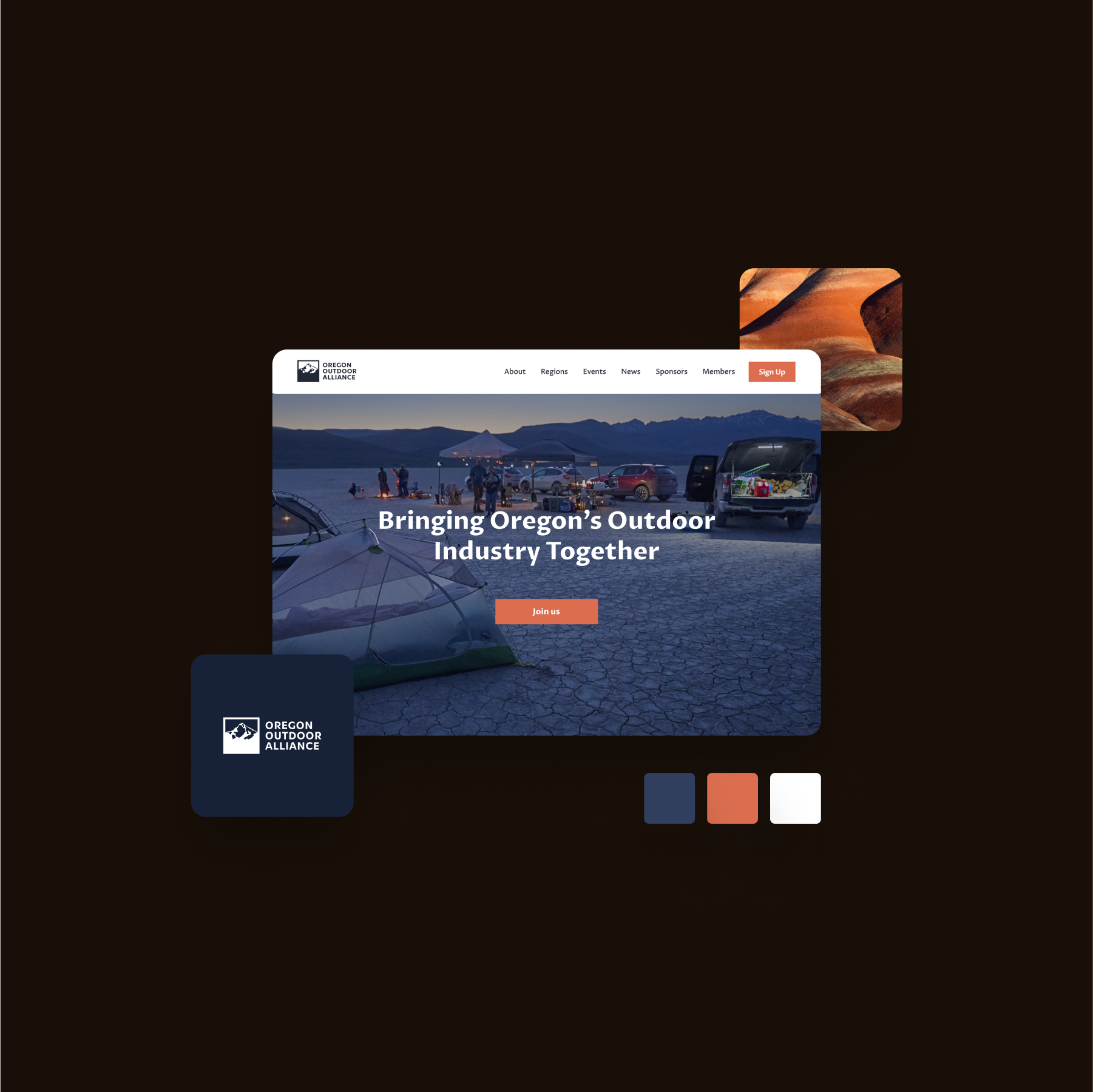 On a black background, an image of the Oregon Outdoor Alliance website, along with color palette and accent images, including one of the Painted Hills, orange and yellow covered in shadow, in Oregon, USA