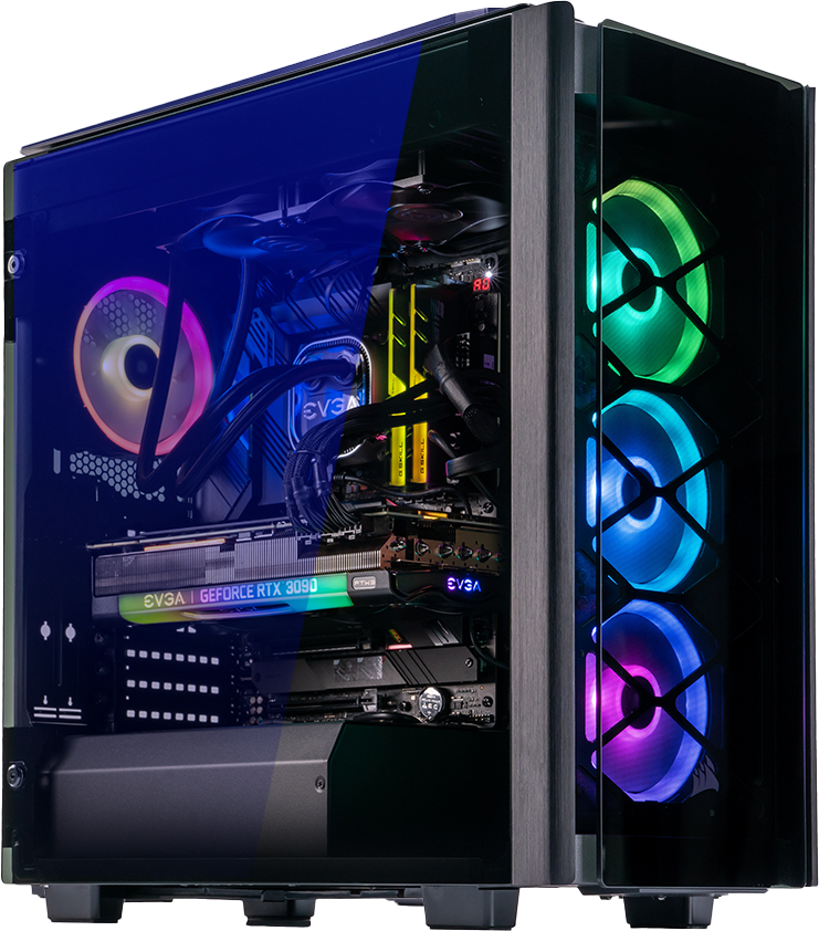 A picture of an ABS Legend PC with green, blue, and purple RGB components in the case that's shot at an angle to display the front and side panels of the PC.