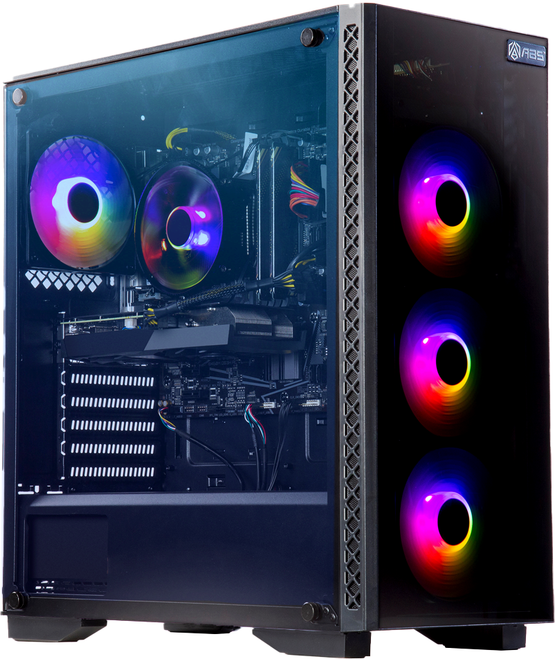 A picture of an ABS Master PC with rainbow RGB components in the case that's shot at an angle to display the front and side panels of the PC.