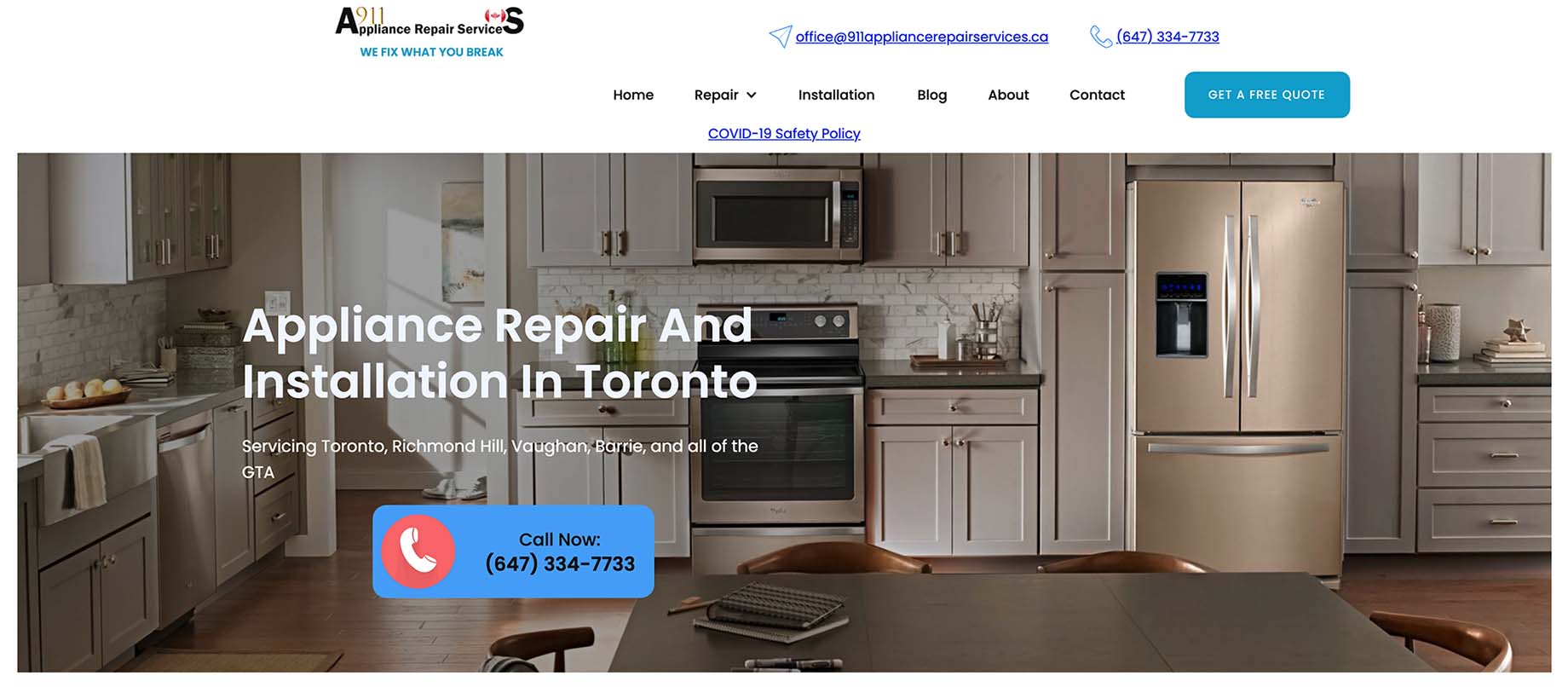 Picture of 911 Appliance Repair Services website.