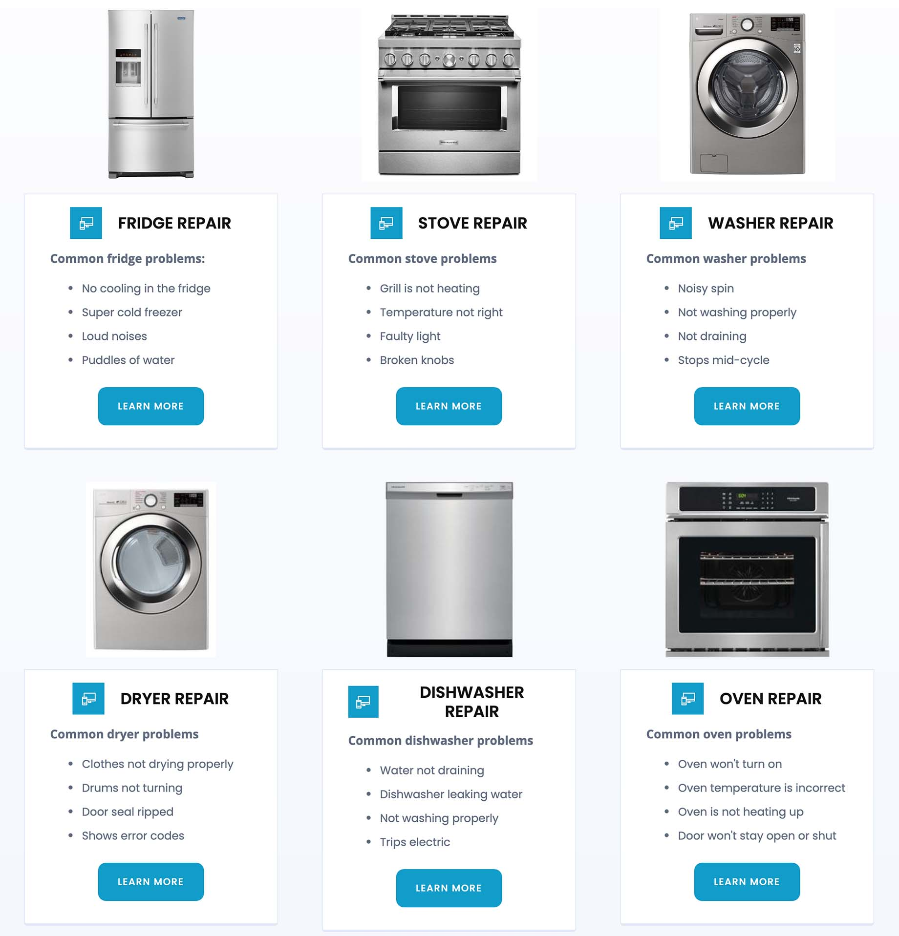 Sample website page from 911 Appliance Repair Services, detailing the different types of appliances.