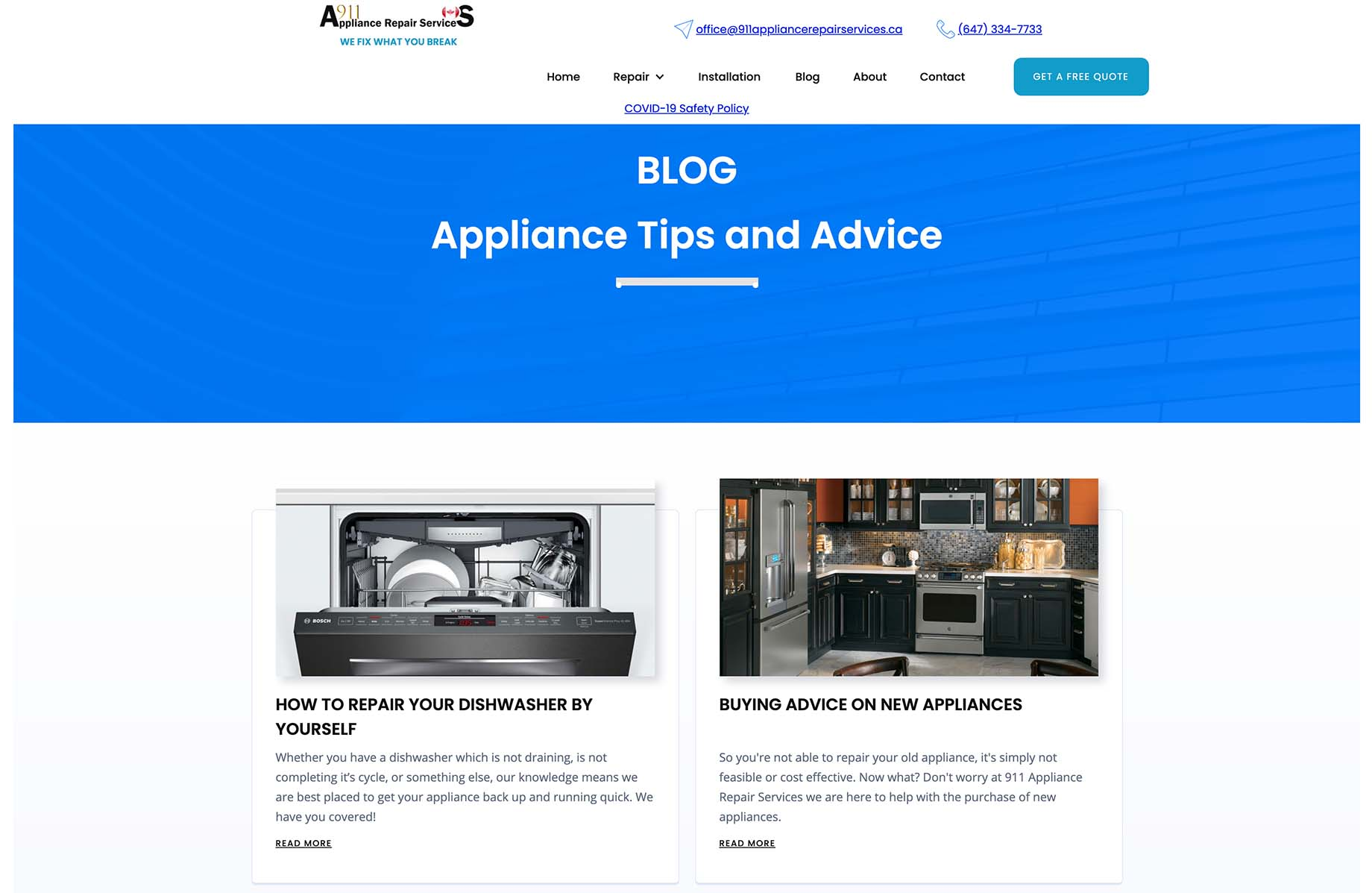 A sample website page from 911 Appliance Repair Services detailing the blog pages.