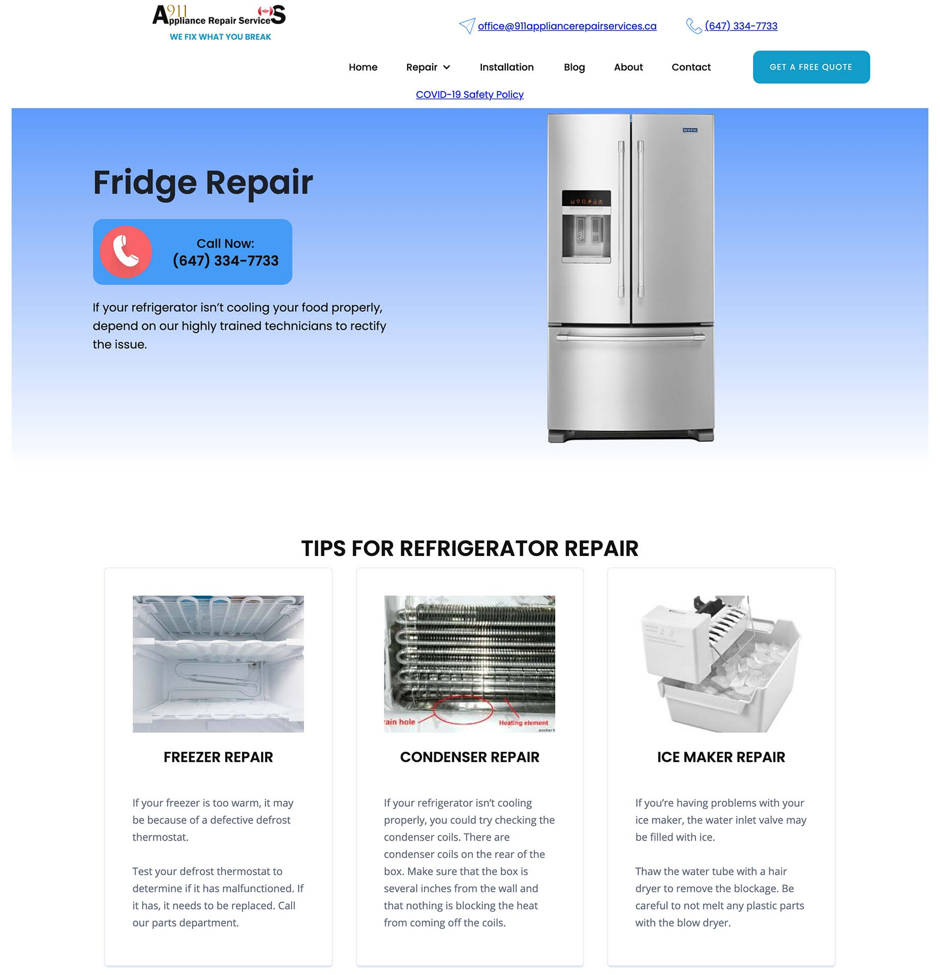 A sample page from the 911 Appliance Repair Services website showing fridge repair.