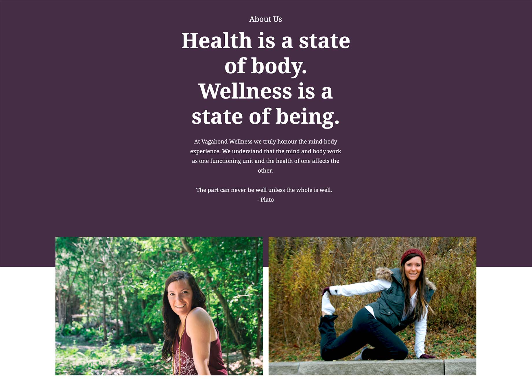About Us page of the Vagabond Wellness website.