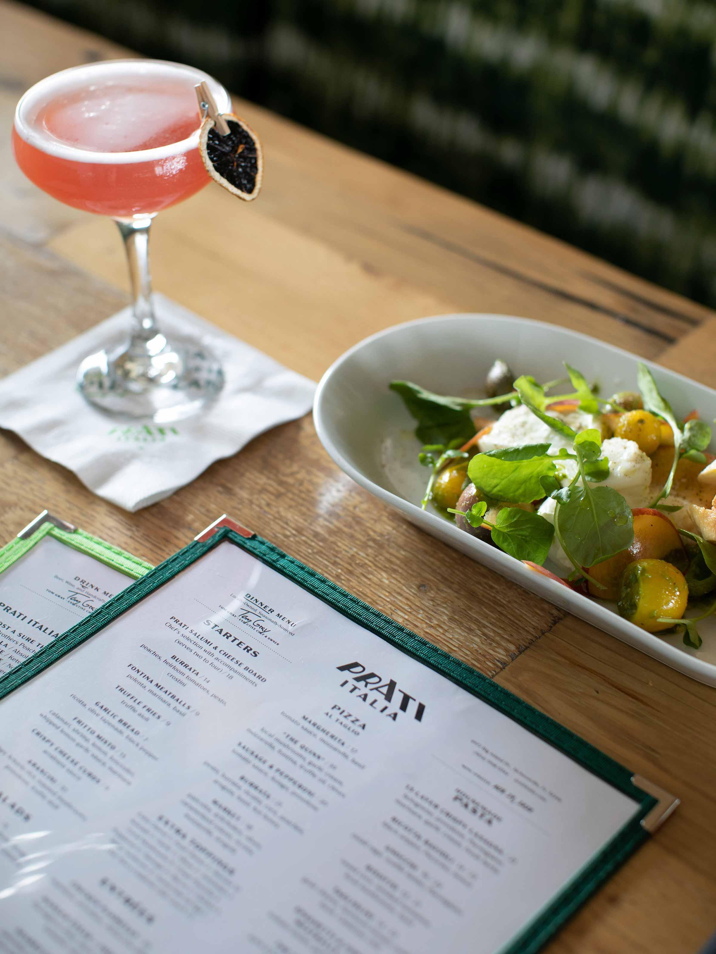 Photo of menus, appetizer, and cocktail at Prati Italia