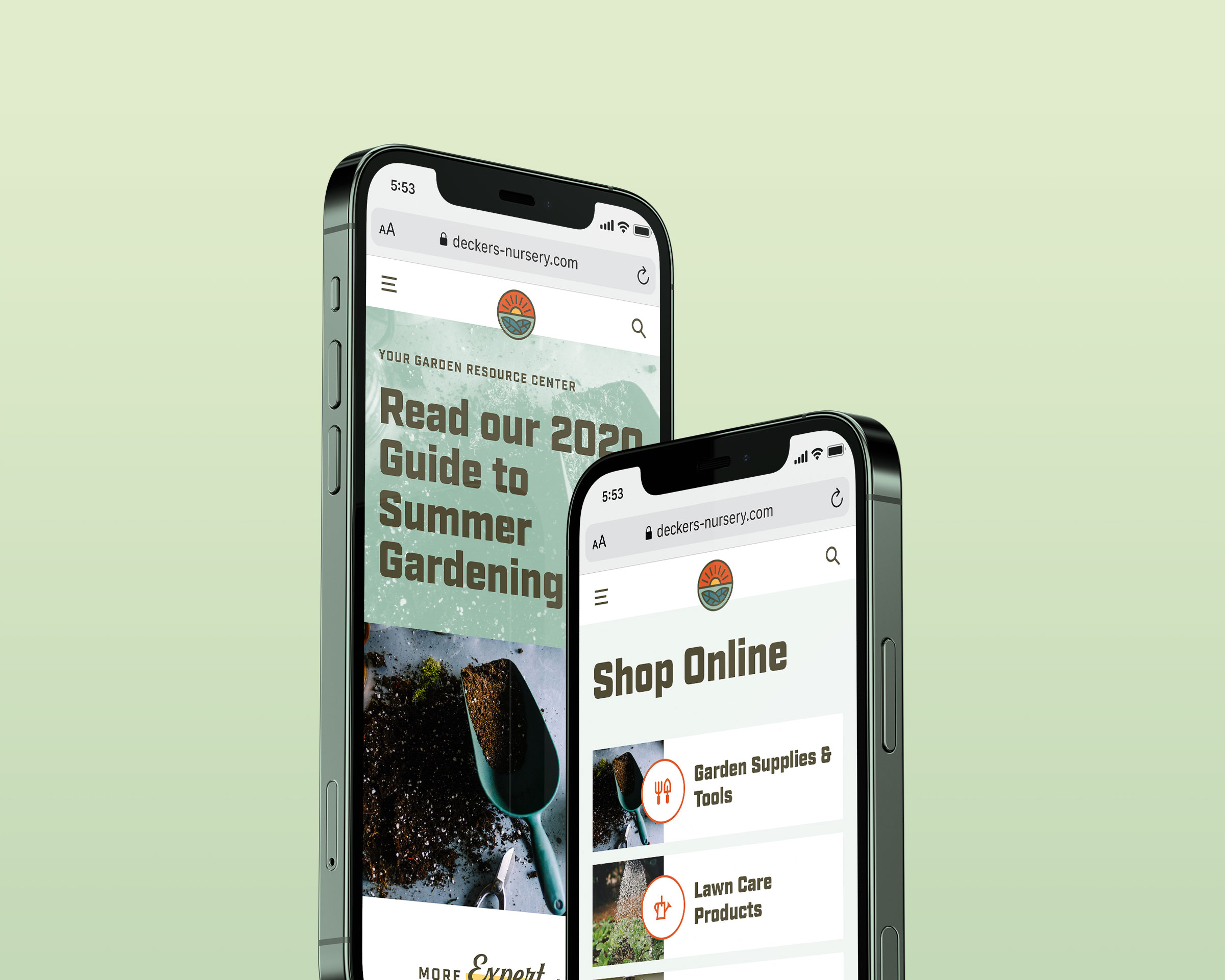 Mockup of Decker's Nursery website on an iPhone
