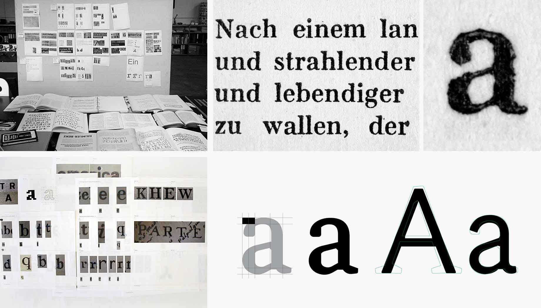 Samples of type references to create the Korpus typeface